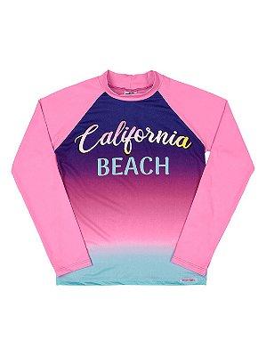 Camiseta Marlan Praia UV Proteção FPS Longa California Rosa