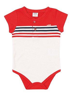 Body para Bebê Marlan Curta Listras com Botão Vermelho