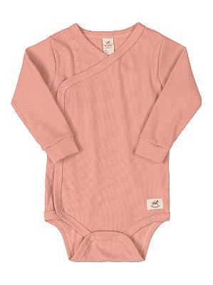 Body Kymono para Bebê Up Baby Longa Canelado Salmão