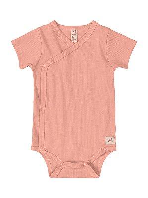 Body Kymono para Bebê Up Baby Curta Canelado Salmão