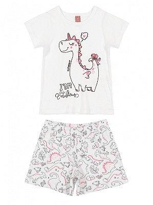 Pijama Up Baby Infantil Malha Curta Shorts Dinossauro Branco