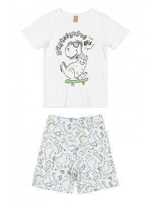 Pijama Up Baby Infantil Malha Curta Bermuda Dinossauro