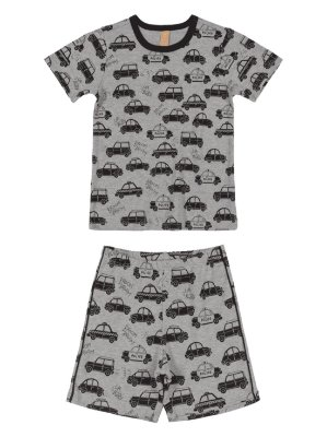 Pijama Up Baby Infantil Malha Curta Bermuda Carros Cinza