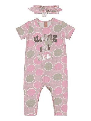 Macacão para Bebê Up Baby Curta com Faixa Cabelo Doing Rosa