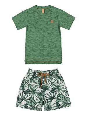 Conjunto Infantil up Baby Camiseta Curta Bermuda Microfibra