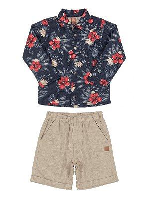 Conjunto Up Baby Infantil Camisa e Bermuda em Tecido Azul