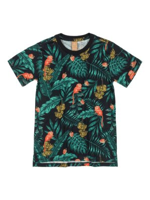 Camiseta Up Baby Infantil Menino Curta Meia Malha Tropical