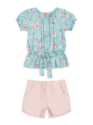 Conjunto Up Baby Infantil Blusa Short Tecido Floral Turquesa