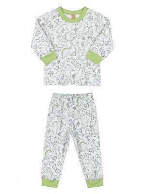 Pijama Infantil Up Baby Calça e Blusa Longa Malha Dinossauro