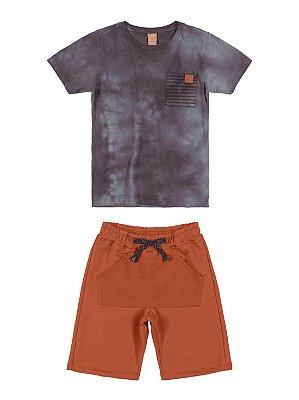 Conjunto Infantil Up Baby Camiseta Curta Bermuda Moletom