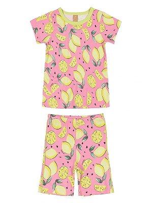 Pijama Up Baby Infantil Blusa Malha Curta Bermuda Frutas