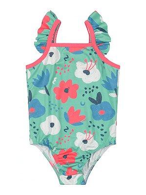 Maiô Infantil Up Baby Malha UV FPS Sublimada Floral Turquesa