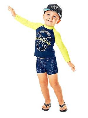 Conjunto Praia Infantil Marlan Camiseta Longa UV Sunga Waves