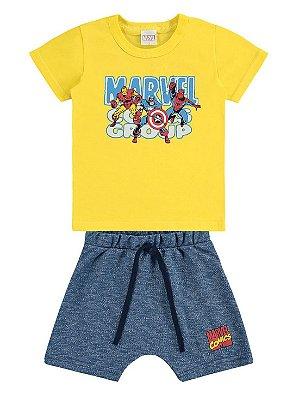 Conjunto Marlan Camiseta e Bermuda Marvel Vingadores Amarelo