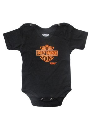 Body Divertido para Bebê Harley Davidson Manga Curta