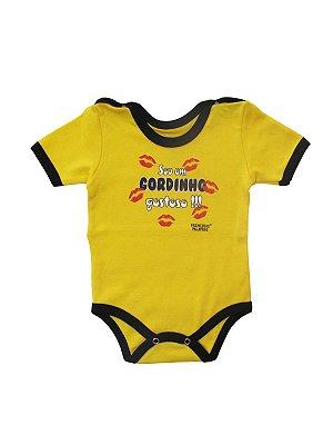 Body Divertido para Bebê Sou um Gordinho Gostoso Manga Curta