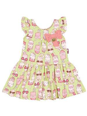 Vestido em meia malha Picolé Hello Kitty