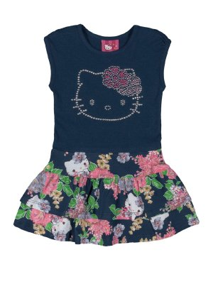 Vestido Floral com strass Hello Kitty