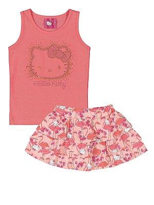 Conjunto Regata e Saia Flamingos Hello Kitty