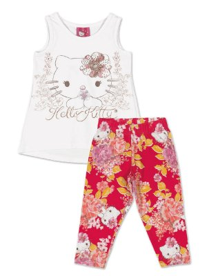 Conjunto Blusa e Legging Floral Hello Kitty