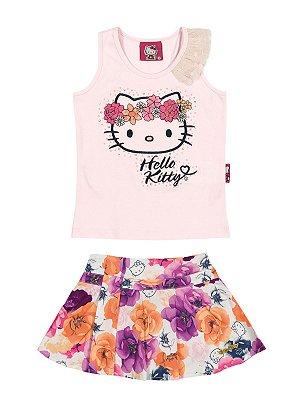 Conjunto Regata e Shorts Saia Floral Hello Kitty