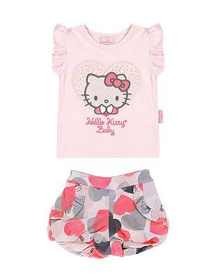 Conjunto Blusa e Shorts Corações Hello Kitty