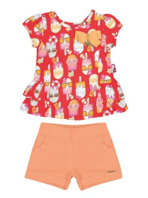 Conjunto Blusa e Shorts Picolé Hello Kitty