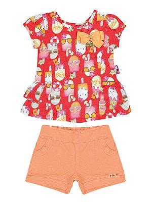 Conjunto Blusa e Shorts Picolé Hello Kitty