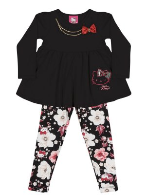 Conjunto Blusa Manga Longa e Legging Floral Hello Kitty
