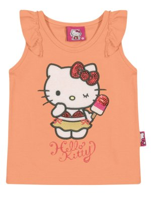 Regata em Cotton Light Bordada Hello Kitty