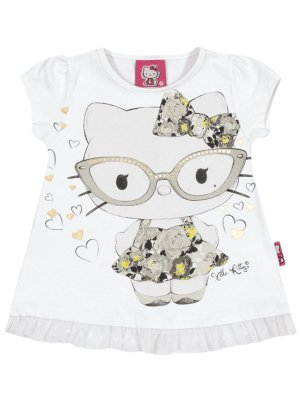 Blusa em Cotton Light e Tulê Hello Kitty