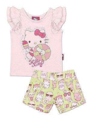Conjunto Blusa sem manga e Shorts Picolé Hello Kitty
