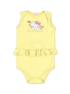 Body Regata Yellow com babadinho Hello Kitty