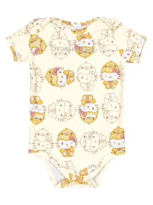 Body em Suedine manga Curta Baby Hello Kitty