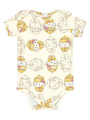 Body em Suedine manga Curta Baby Hello Kitty