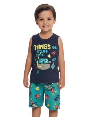 Conjunto Bermuda e Regata Monkey Diving Loopy de Loop
