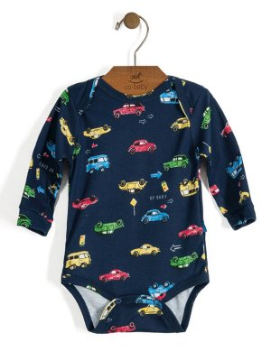 Body manga longa Vintage Carros Azul Up Baby