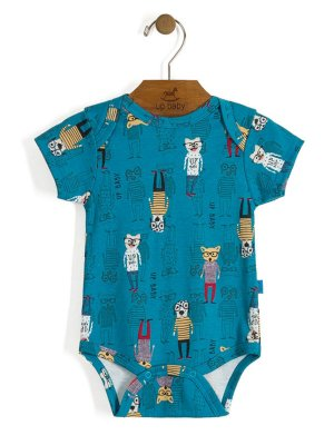 Body Manga Curta Vintage Dogs Azul Up Baby