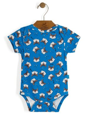 Body Manga Curta Vintage Fox Azul Up Baby