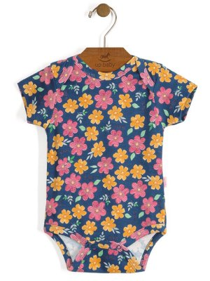 Body Manga Curta Shine Floral Azul Up Baby