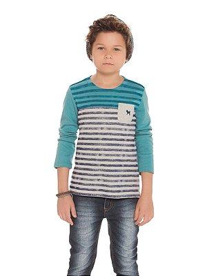 Camiseta Listras em Suedine com Bolso Manga Longa Charpey