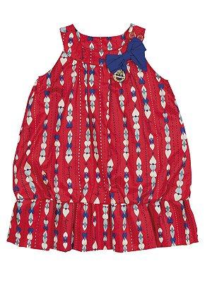 Vestido Corações em Popeline com Alças Quimby