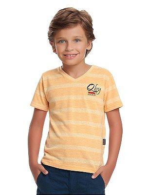 Camiseta em Malha Flamê Manga Curta Quimby