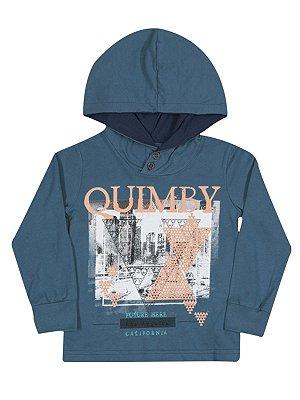 Camiseta em Meia Malha Manga Longa com Capuz Quimby