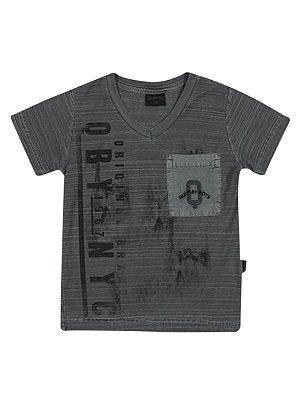 Camiseta em Malha Flamê com Bolso Manga Curta Quimby