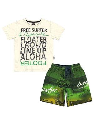 Conjunto Free Surfer Camiseta Meia Malha e Bermuda Microfibra Quimby