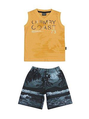 Conjunto Coast Regata Meia Malha e Bermuda Microfibra Quimby