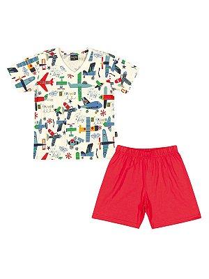 Pijama Airplanes Camiseta e Bermuda em Algodão Quimby