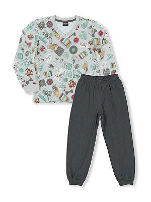 Pijama Desenhos Camiseta Manga Longa e Calça Quimby
