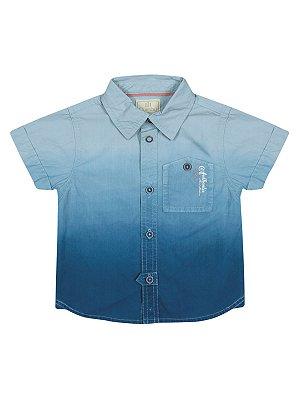 Camisa Degradê Azul Manga Curta em Popeline Quimby